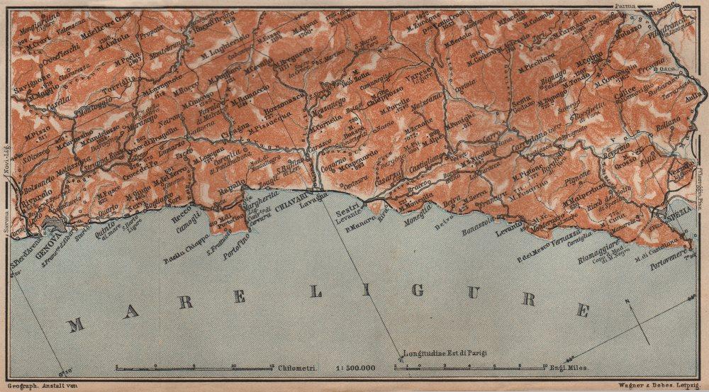 Associate Product RIVIERA DI LEVANTE. Genoa Genova-Portofino-Rapallo-Chiavari-La Spezia 1906 map