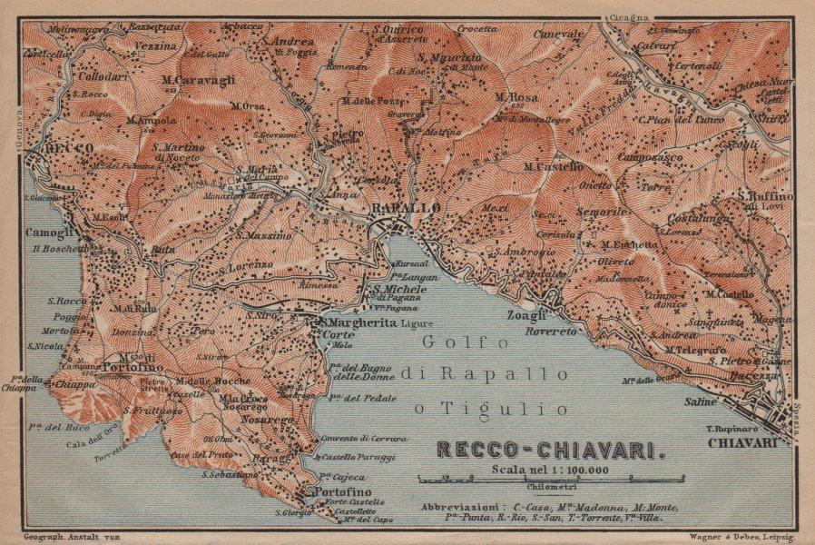 GOLFO DI RAPALLO Portofino Camogli Chiavari S. Margherita Ligure Italy 1906 map