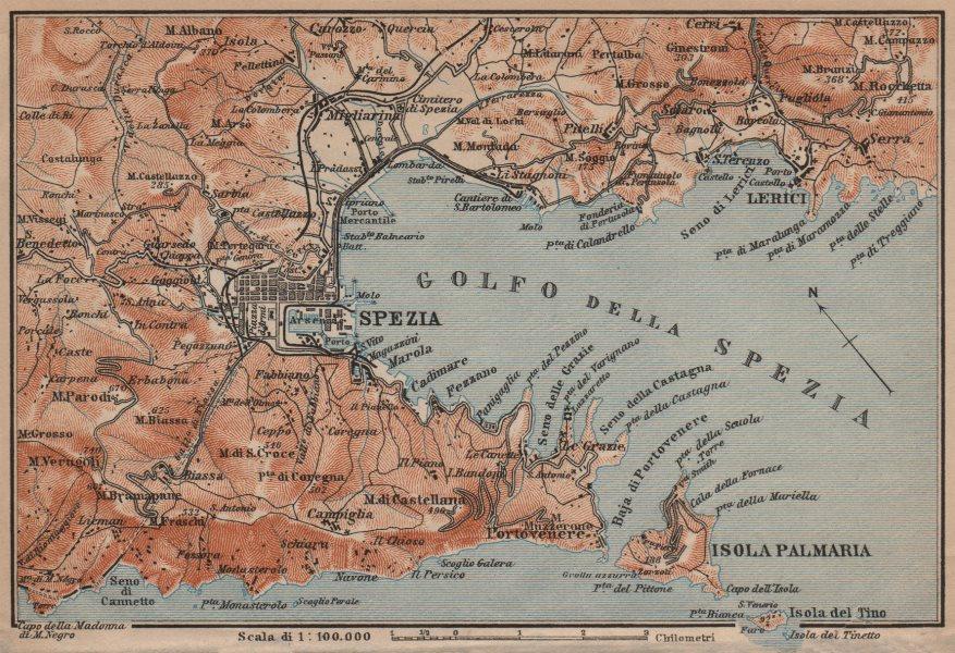 Associate Product GOLFO DELLA SPEZIA. La Spezia environs. Lerici isola Palmaria. Italy 1906 map