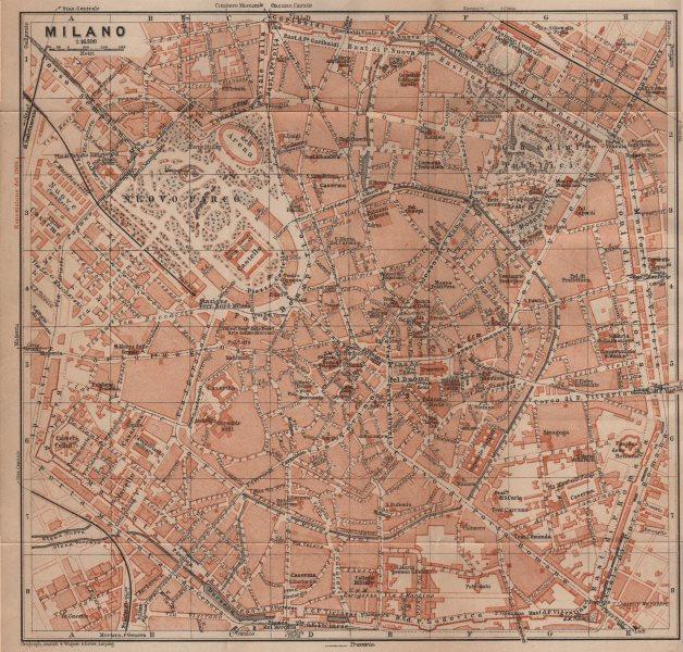 Associate Product MILANO MILAN antique town city plan piano urbanistico. Italy mappa 1906