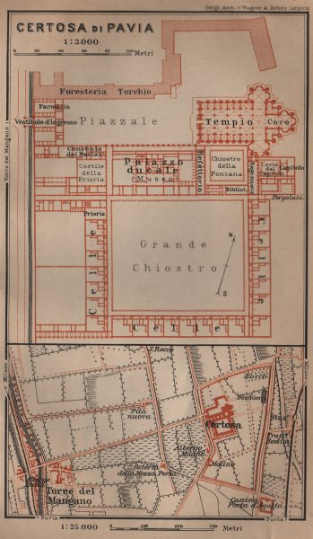 Associate Product CERTOSA DI PAVIA ground plan. Italy. Torre del Mangano mappa. BAEDEKER 1906