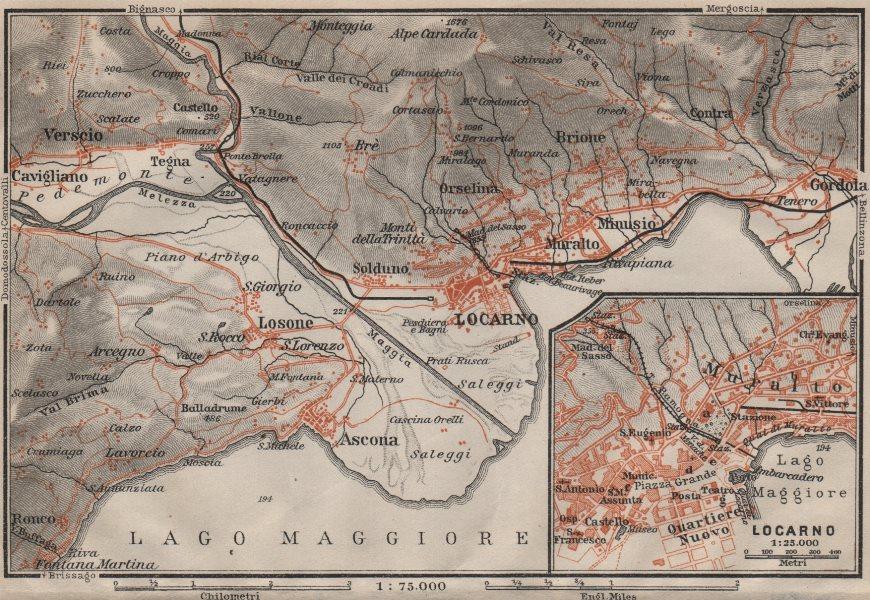 Associate Product LOCARNO area. Losone Gordola Muralto Brione. Switzerland Suisse Schweiz 1906 map