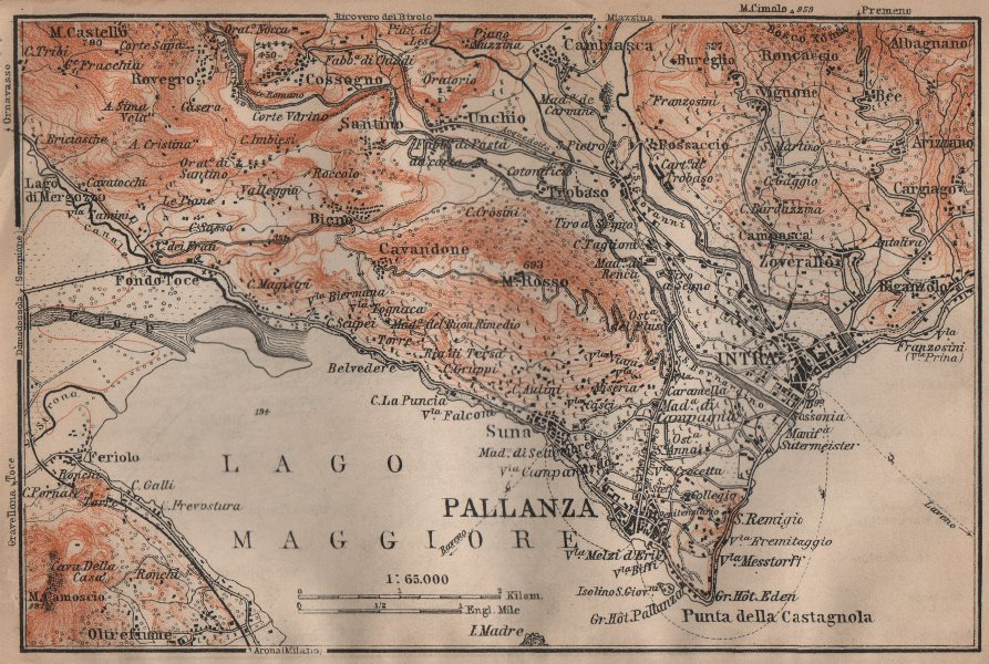 Associate Product PALLANZA ENVIRONS. Verbania. Intra Unchio. Italy mappa. BAEDEKER 1906 old