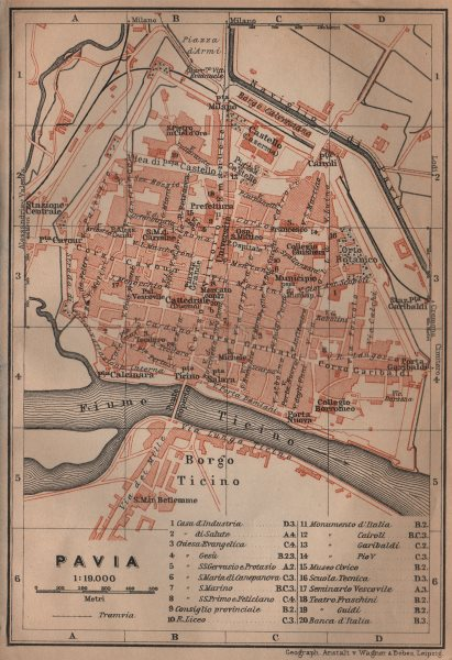 Associate Product PAVIA antique town city plan piano urbanistico. Italy mappa. BAEDEKER 1906