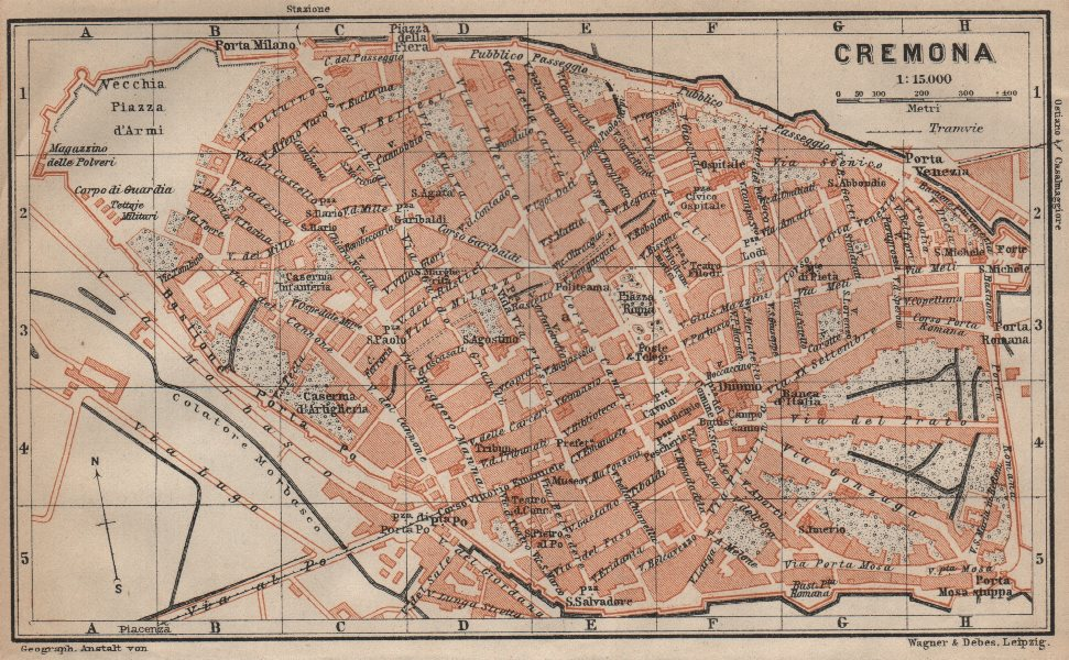 Associate Product CREMONA antique town city plan piano urbanistico. Italy mappa 1906 old