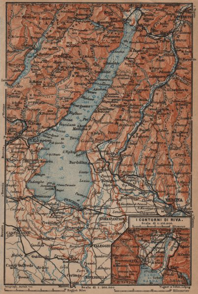 Associate Product LAGO DI/LAKE GARDA. Riva Salo Peschiera Verona. topo-map. Italy mappa 1906