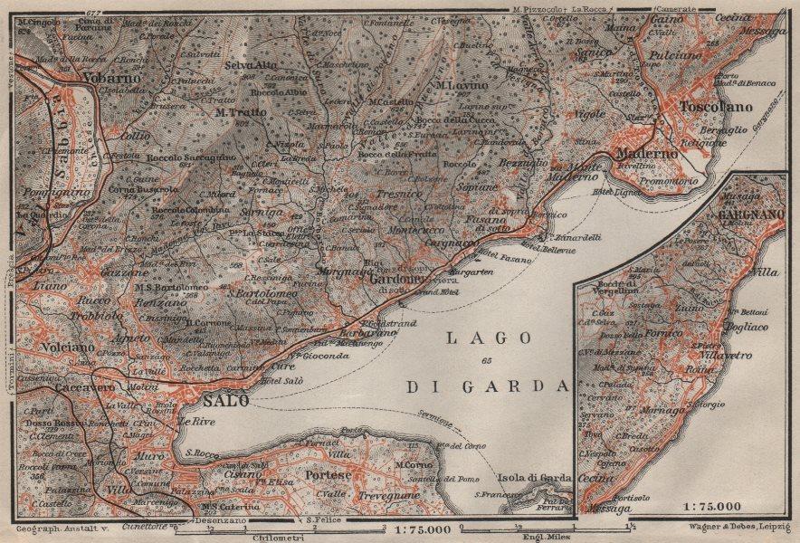 Associate Product SALO MADERNO GARGNANO environs. Lago di/Lake Garda. Brescia. BAEDEKER 1906 map