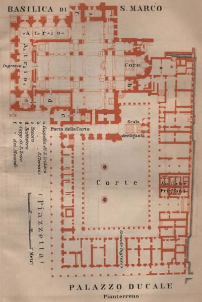 Associate Product St Mark's BASILICA SAN MARCO. PALAZZO DUCALE Doge's palace plan Venice 1906 map