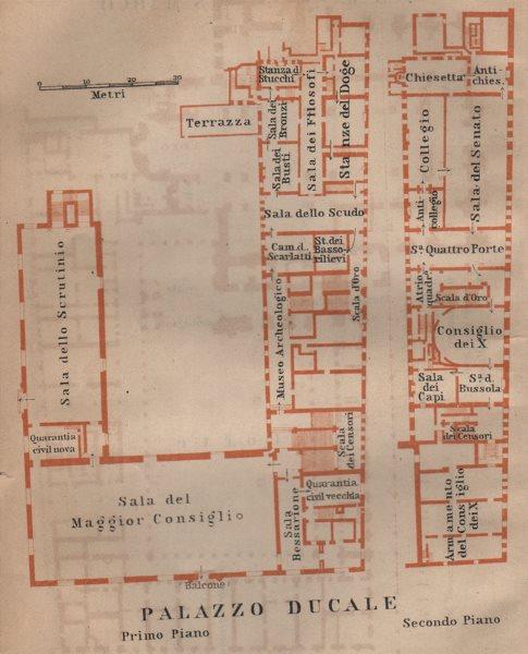 PALAZZO DUCALE. Doge's palace floor plan. Venice Venezia mappa. SMALL 1906