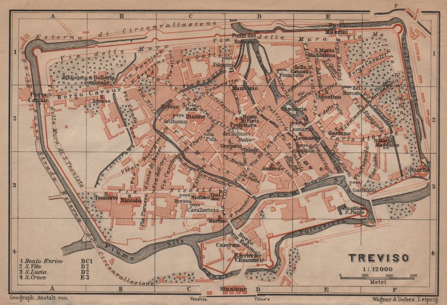 Associate Product TREVISO antique town city plan piano urbanistico. Italy mappa 1906 old