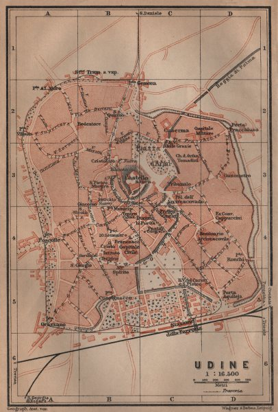 Associate Product UDINE antique town city plan piano urbanistico. Italy mappa. BAEDEKER 1906