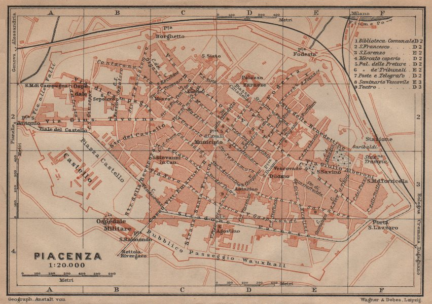 Associate Product PIACENZA antique town city plan piano urbanistico. Italy mappa 1906 old
