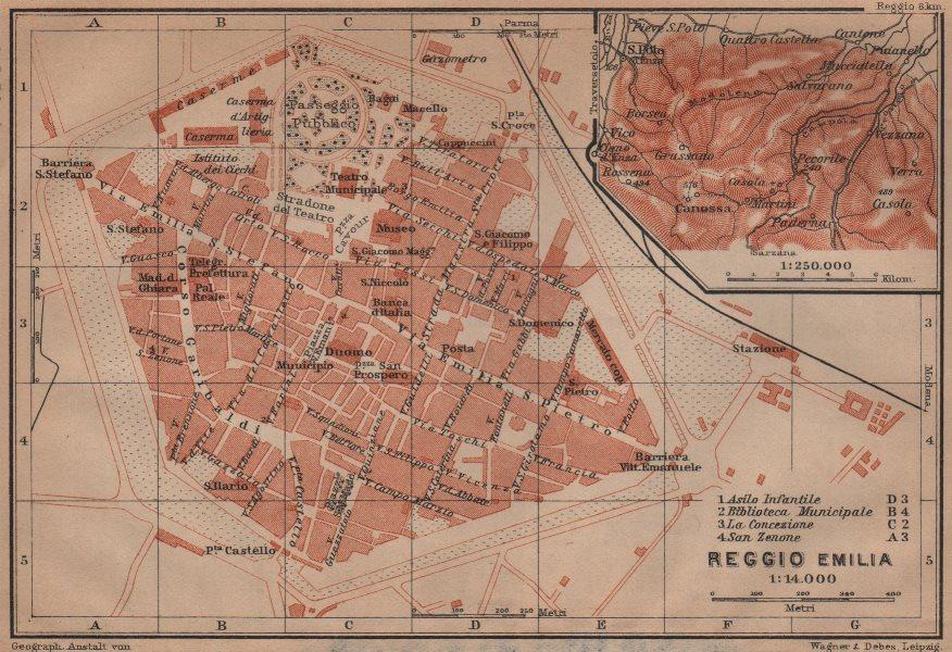 Associate Product REGGIO NELL'EMILIA town city plan & environs/contorni. Italy mappa 1906