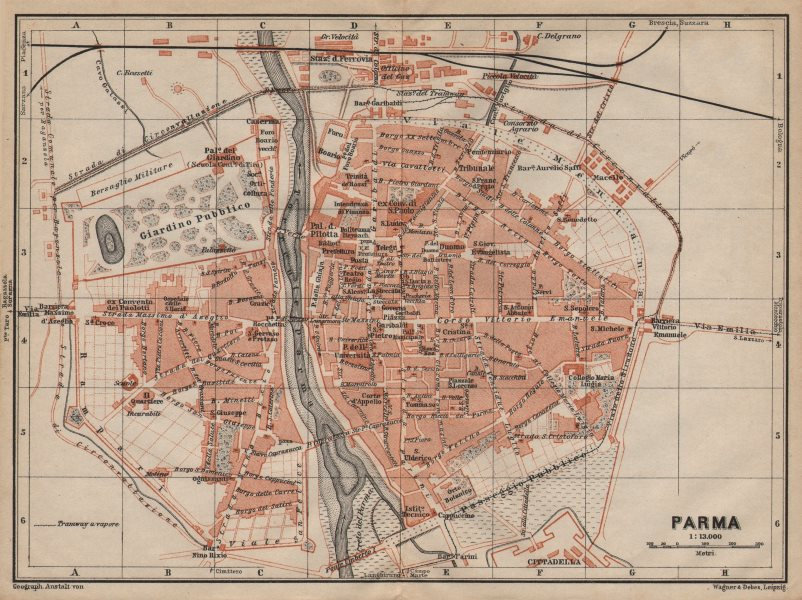 Associate Product PARMA antique town city plan piano urbanistico. Italy mappa. BAEDEKER 1906