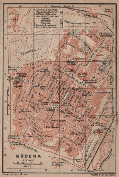Associate Product MODENA antique town city plan piano urbanistico. Italy mappa. BAEDEKER 1906
