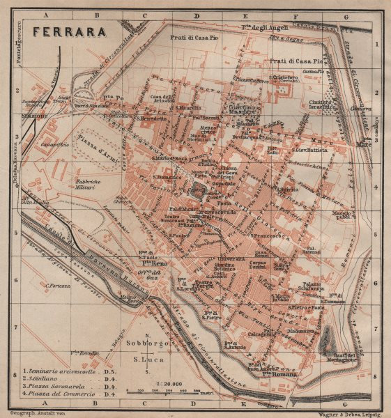 Associate Product FERRARA antique town city plan piano urbanistico. Italy mappa 1906 old