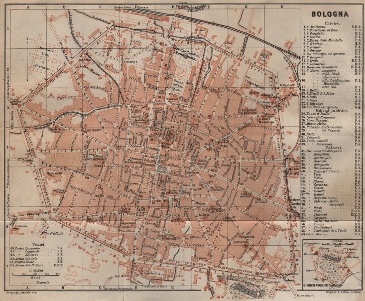 Associate Product BOLOGNA antique town city plan piano urbanistico. Italy mappa 1906 old