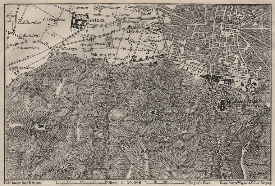 Associate Product BOLOGNA environs. Certosa. Madonna di San Luca. Santo Michele in Bosco 1906 map
