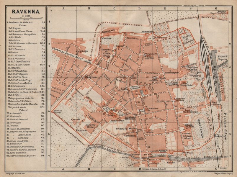 Associate Product RAVENNA antique town city plan piano urbanistico. Italy mappa 1906 old