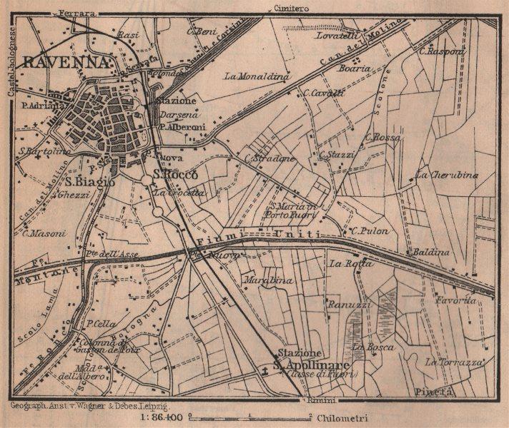 Associate Product RAVENNA environs contorni. Ponte Nuovo. Italy mappa. BAEDEKER. SMALL 1906