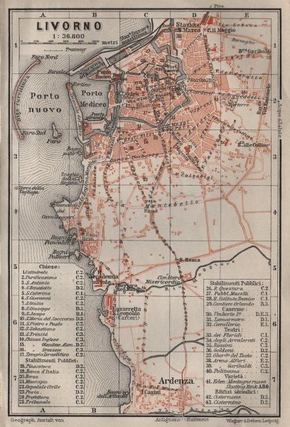 Associate Product LIVORNO antique town city plan piano urbanistico. Italy mappa 1906 old