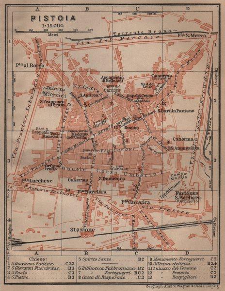 Associate Product PISTOIA antique town city plan piano urbanistico. Italy mappa. SMALL 1906