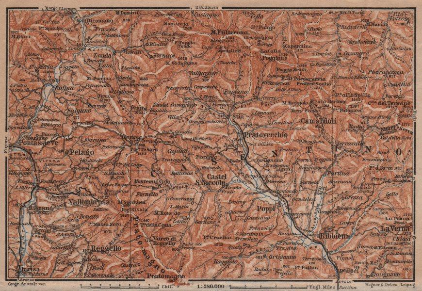 Associate Product VALLOMBROSA & CAMALDOLI environs. Reggello Casentino. Topo-map. Italy 1906