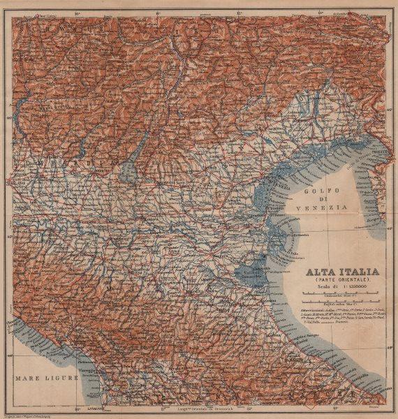Associate Product ALTA ITALIA (PARTE ORIENTALE). North East Italy mappa. BAEDEKER 1906 old