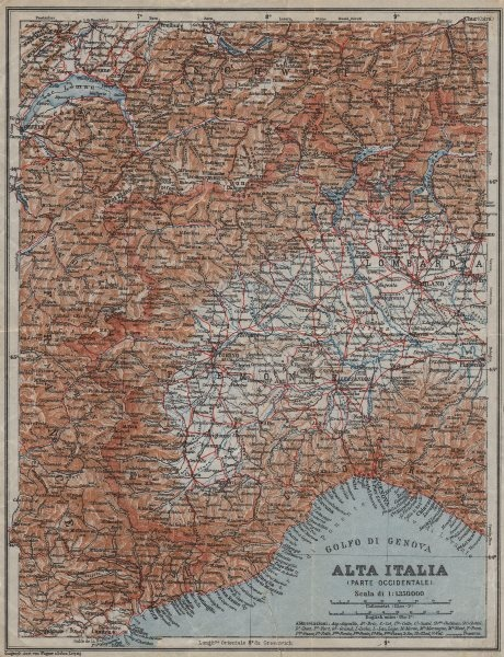 Associate Product ALTA ITALIA (PARTE OCCIDENTALE). North-west Italy mappa. BAEDEKER 1913 old