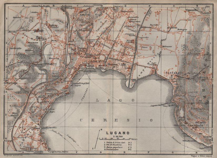 LUGANO antique town city stadtplan. Switzerland carte karte. BAEDEKER 1913 map