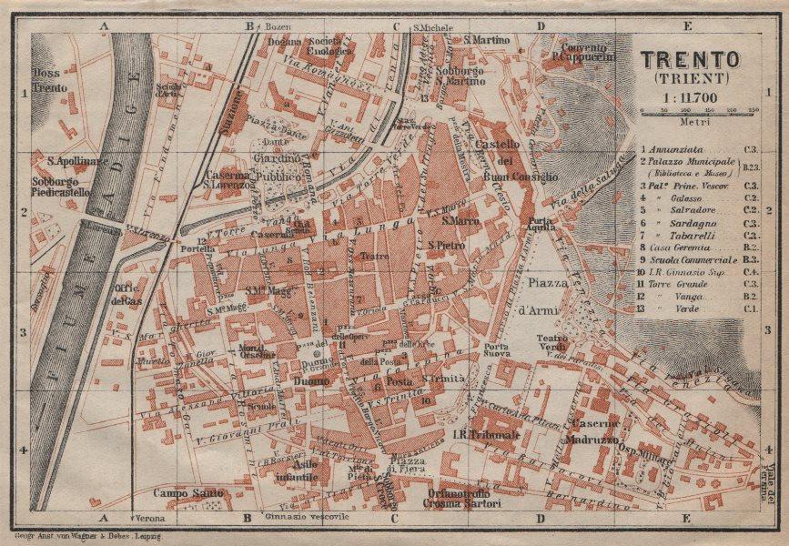 Associate Product TRENTO (TRIENT) town city plan piano urbanistico. Italy Italia mappa 1913