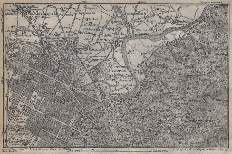 Associate Product TURIN TORINO eastern environs. Italy mappa. BAEDEKER 1913 old antique