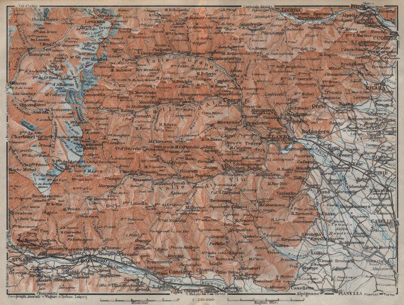 Associate Product SOUTHERN GRAIAN ALPS. Stura valleys. Susa Lanzo Piedmont. BAEDEKER 1913 map
