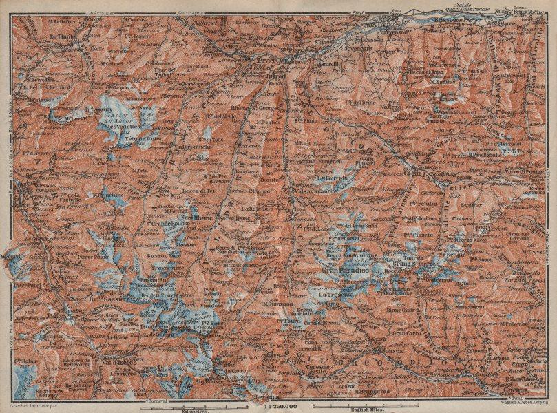 Associate Product ALPI GRAIAN ALPS. Aosta Val d'Isère Tignes La Thuile Gran Paradiso 1913 map