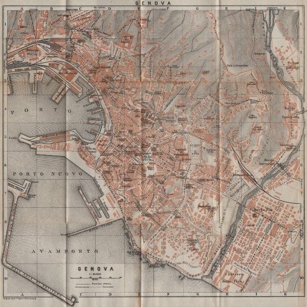 Associate Product GENOVA GENOA town city plan piano urbanistico. Gênes. Italy mappa 1913 old