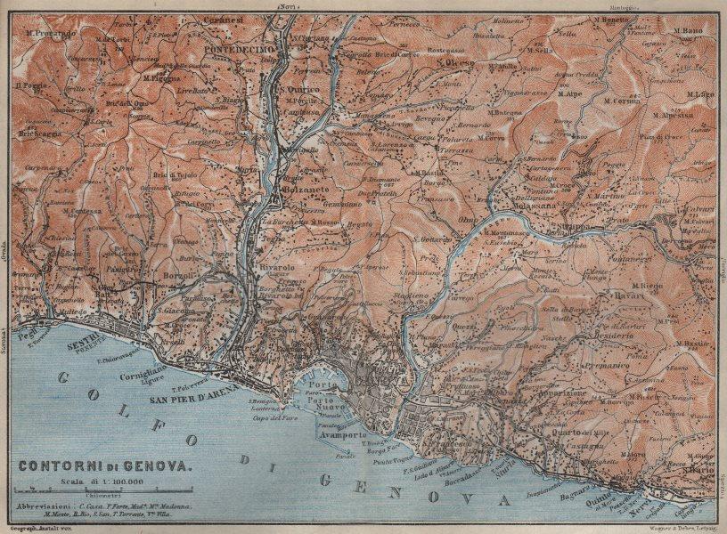 Associate Product GENOVA GENOA environs. Sestri Ponente Nervi Pontedecimo. Italy mappa 1913