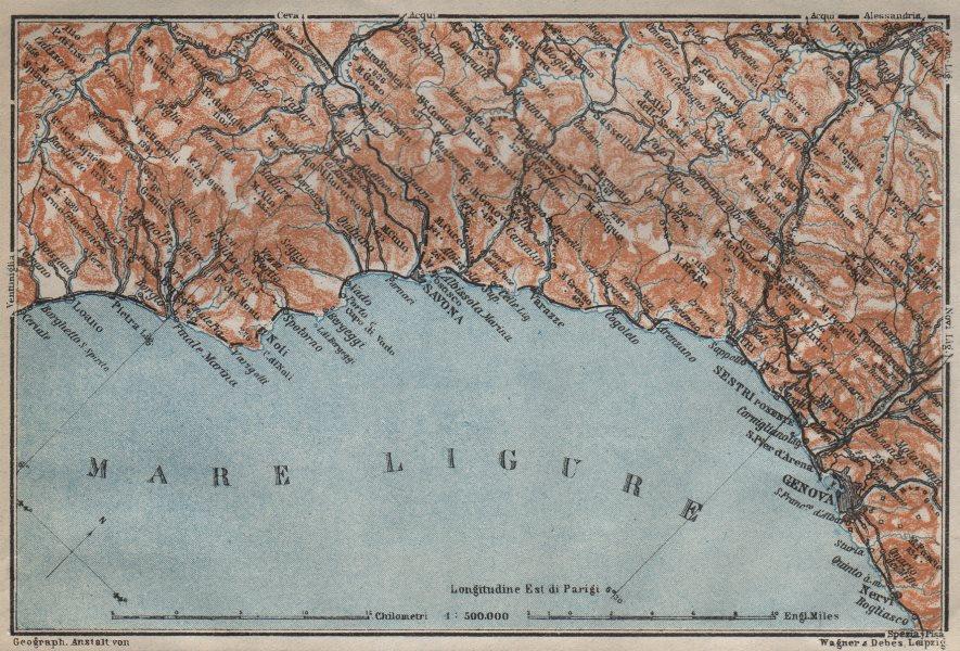 Associate Product RIVIERA DI PONENTE. Genoa Genova-Arenzano-Varazze-Savona-Loana. Italy 1913 map