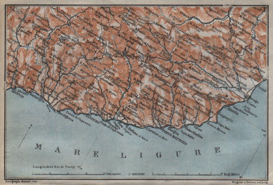 RIVIERA DI PONENTE. Menton-Ventimiglia-Sanremo-Imperia-Albenga. Italy 1913 map