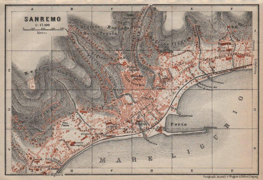 Associate Product SANREMO town city plan piano urbanistico. San Remo. Italy mappa 1913 old