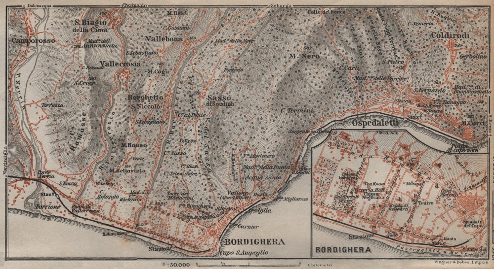 Associate Product BORDIGHERA antique town city plan & environs. Ospedaletti. Italy mappa 1913