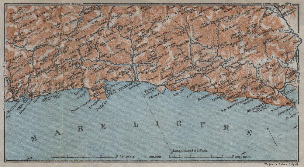 Associate Product RIVIERA DI LEVANTE. Genoa Genova-Portofino-Rapallo-Chiavari-La Spezia 1913 map