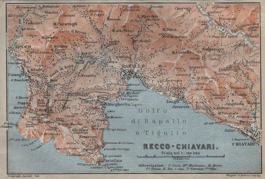 Associate Product GOLFO DI RAPALLO Portofino Camogli Chiavari S. Margherita Ligure Italy 1913 map