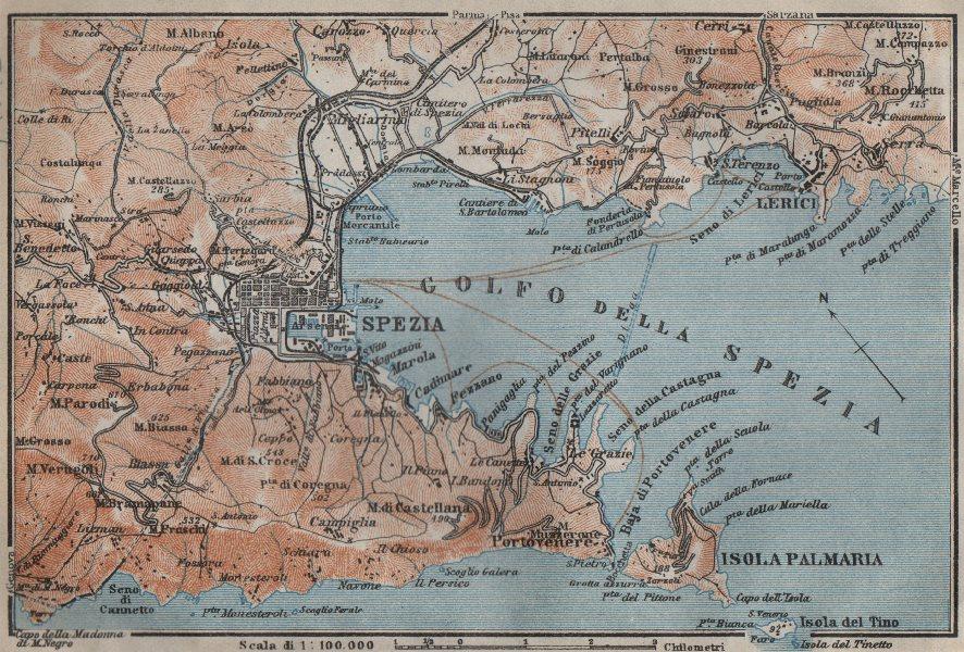 Associate Product GOLFO DELLA SPEZIA. La Spezia environs. Lerici isola Palmaria. Italy 1913 map