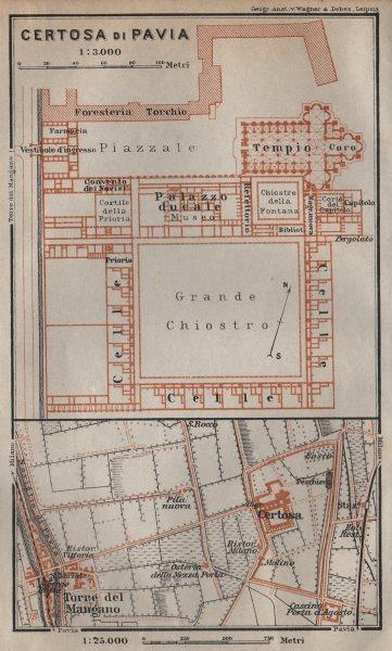 Associate Product CERTOSA DI PAVIA ground plan. Italy. Torre del Mangano mappa. BAEDEKER 1913