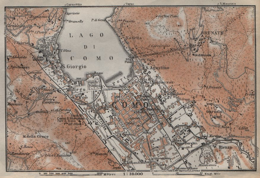 Associate Product COMO town city plan and environs. San Giorgio Brunate. Italy mappa 1913