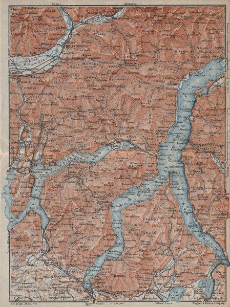 Associate Product LAKES OF/Lago di COMO, LUGANO & LECCO. Bellinzona mappa. BAEDEKER 1913 old