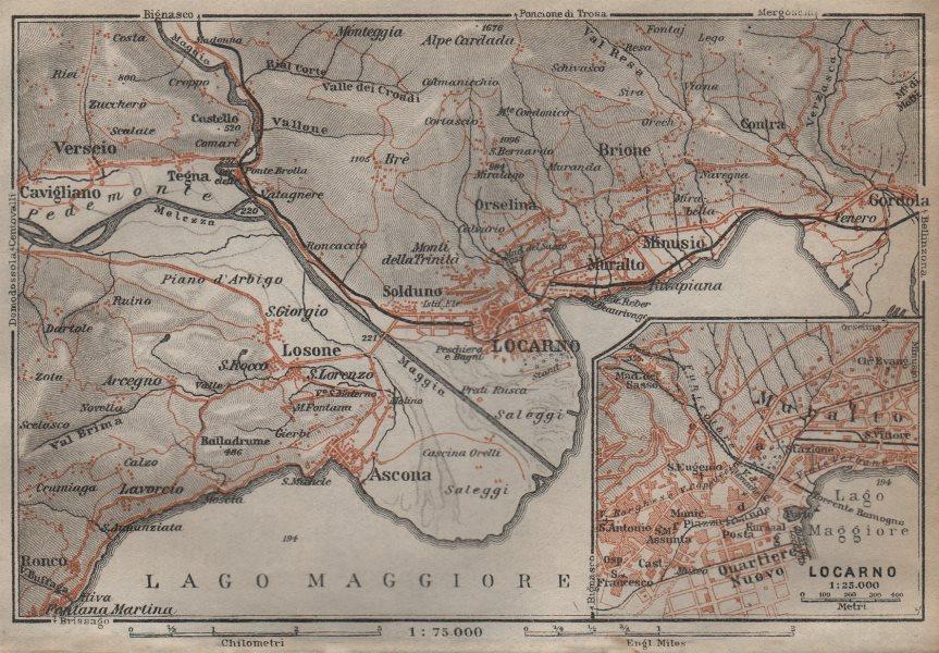 Associate Product LOCARNO area. Losone Gordola Muralto Brione. Switzerland Suisse Schweiz 1913 map