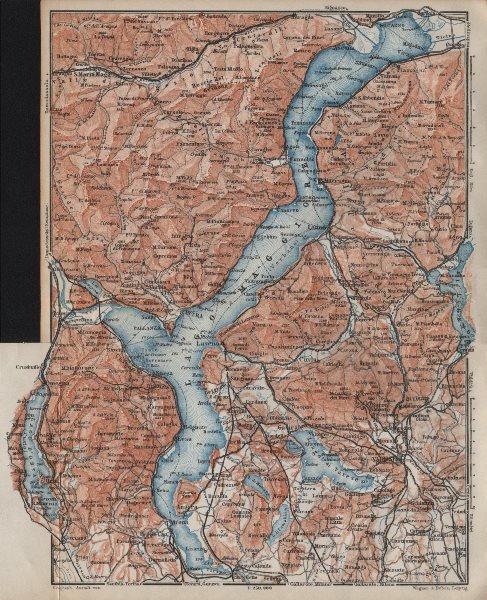 Associate Product LAGO/LAKE MAGGIORE & LAGO/LAKE D'ORTA Varese Pallanza topo-map. Italy 1913