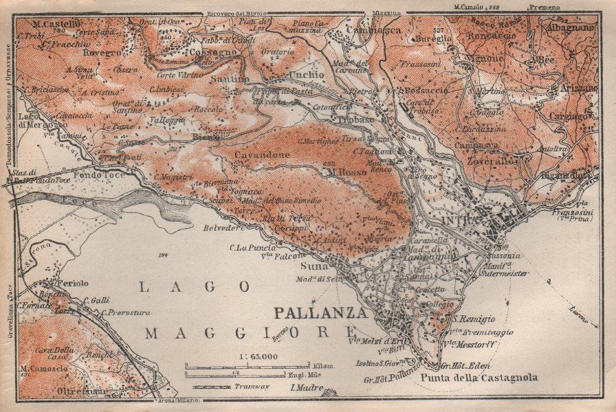 PALLANZA ENVIRONS. Verbania. Intra Unchio. Italy mappa. BAEDEKER 1913 old