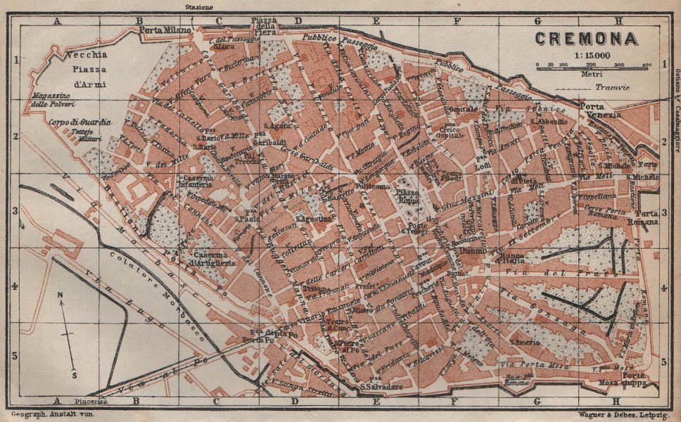 Associate Product CREMONA antique town city plan piano urbanistico. Italy mappa 1913 old